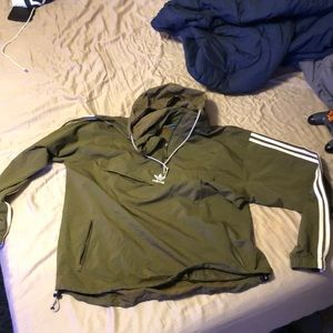 Adidas pull over hoodie olive green/brown